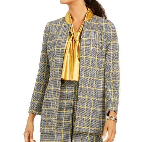 Kasper Women's Jacket Gray Yellow Size 4 Open Front Window Pane