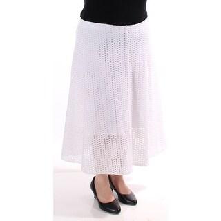 ALFANI $70 Womens New 1264 White Below The Knee A-Line Casual Skirt L B+B