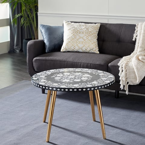 Gold Metal Eclectic Coffee Table 21 x 30 x 30 - 30 x 30 x 21Round
