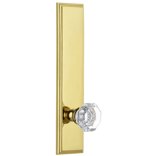 Grandeur CARCHM_TP_SD_NA Carre Solid Brass Tall Plate Rose Single Dummy Door Knob with Chambord Crystal Knob