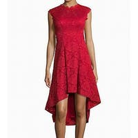 Betsy & Adam Red Women's Size 2 Floral Lace High-Low Sheath Dress