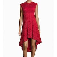 Betsy & Adam Red Women's Size 8 Floral Lace High-Low Sheath Dress