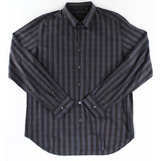 Theory NEW Navy Blue Black Mens Size XL Striped Button Down Shirt