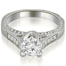 0.85 cttw. 14K White Gold Antique Cathedral Round Cut Diamond Engagement Ring
