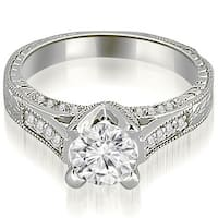 1.35 cttw. 14K White Gold Antique Cathedral Round Cut Diamond Engagement Ring