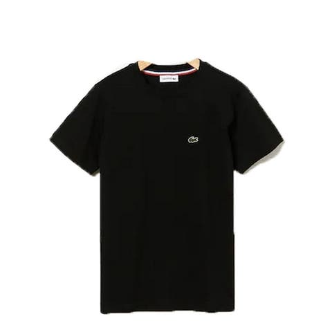 Lacoste Black Crew Neck Cotton Jersey Trendy T-shirt Big Boys 16