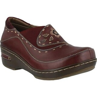 L'Artiste by Spring Step Women's Burbank Closed Back Clog Bordeaux Leather
