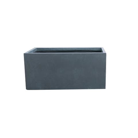 Kante Lightweight Concrete Modern Long Low Outdoor Planter, Small, 23 Inch Long, Charcoal