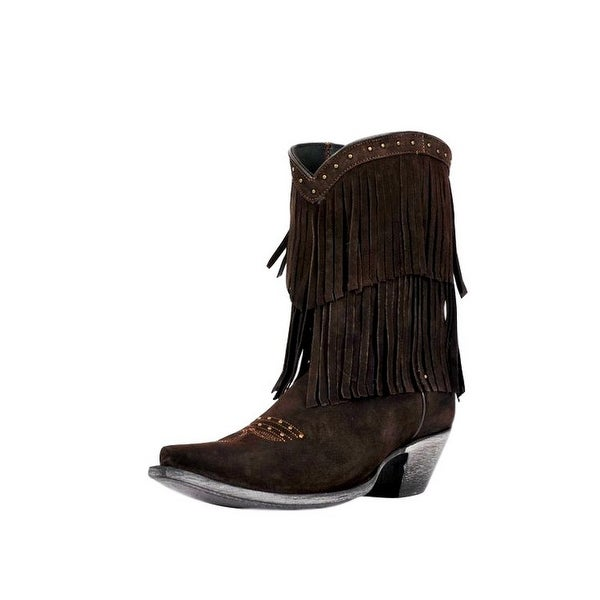 Johnny Ringo Western Boots Womens Leather Fringe Chocolate