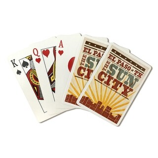 El Paso, Texas - Skyline & Sunburst - LP Artwork (Poker Playing Cards Deck)
