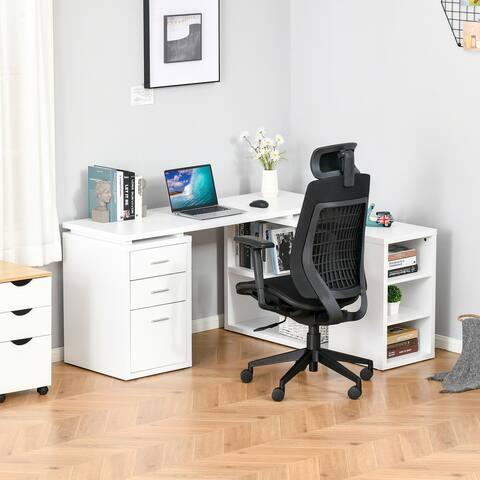 HOMCOM L-Shaped Computer Desk Home Office Corner Desk Study Workstation Table with Storage Shelves, Hanging File Folders, White