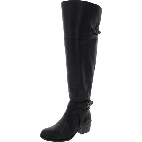 Vince Camuto Womens Bestant Over-The-Knee Boots Wide Calf Pebbled - Black Casciano
