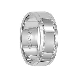 COVENANT 14k White Gold Wedding Band Flat High Polished Center Milgrain Edge Design by Artcarved - 7.5 mm (More options available)