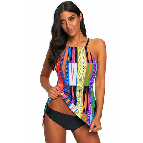 Cali Chic Women's Two Piece Swimsuit Celebrity Multi Color Pattern Tankini