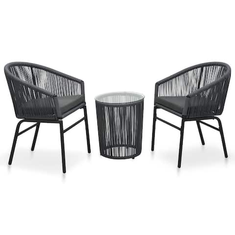 vidaXL 3 Piece Bistro Set with Cushions PVC Rattan Anthracite