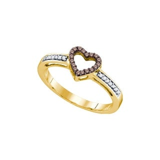 10kt Yellow Gold Womens Round Cognac-brown Colored Diamond Heart Love Fashion Ring 1/10 Cttw - Brown/White