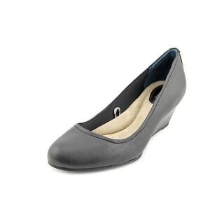 Giani Bernini Jileen Open Toe Leather Wedge Heel
