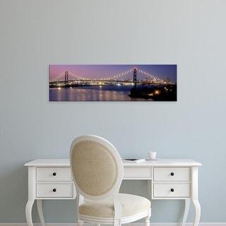 Easy Art Prints Panoramic Images's 'Ambassador Bridge at dusk, Detroit, Wayne County, Michigan, USA' Canvas Art