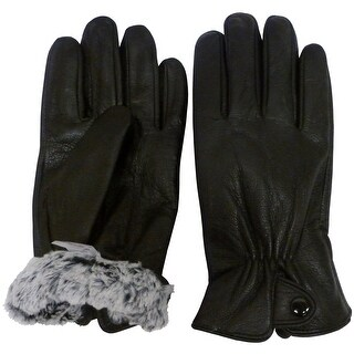 NICE CAPS Mens 100% Genuine Leather Glove With Plush Lining And Snap Closure - Black