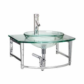 Small Glass Sink : Small Glass Sink with Faucet Wall Mount