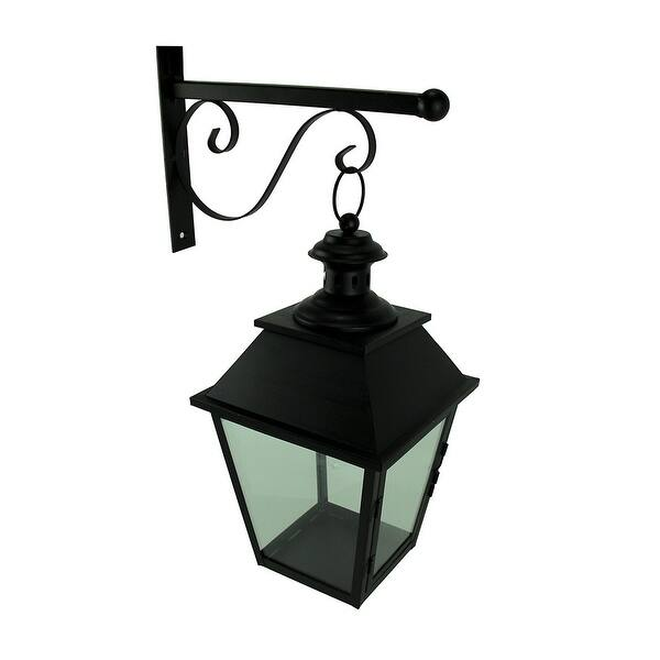Black Metal And Gl Hanging Candle Lantern With Decorative Wall Bracket 18 5 X 12 8 Inches