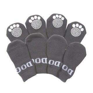 Pet Socks W/ Rubberized Soles, Grey, Large