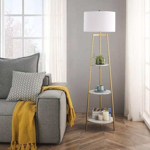ROSEN GARDEN Floor Lamp, Standing Reading Light with 3 Shelves