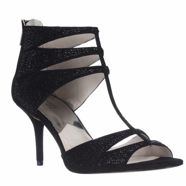MICHAEL Michael Kors Mavis T-Strap Dress Sandals, Black Suede - 10 us