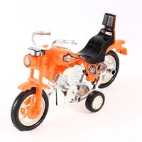Kids Gift Four Wheels Pull Back Orange Black Plastic Motorcycle Toy Model