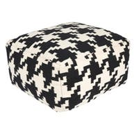 "18"" Raven Black and Ivory Houndstooth Wool Square Pouf Ottoman"