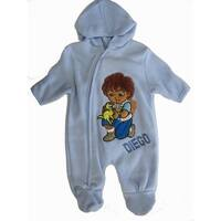 Nickelodeon Baby Boys Sky Blue Diego Applique Zipper Footed Bodysuit