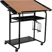 Offex Adjustable Drawing and Drafting Table with Black Frame and Dual Wheel Casters [OF-NAN-JN-2739-GG]