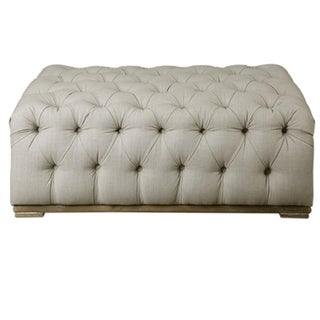 "43"" Antique White Diamond Tufted Linen and Gray Washed Oak Footstool Ottoman"