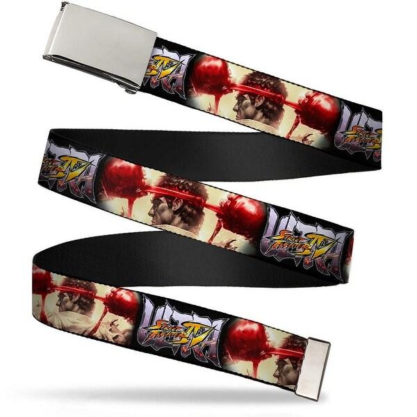 Blank Chrome Buckle Ultra Street Fighter Iv Ryu Prep Pose Close Up Web Belt - S