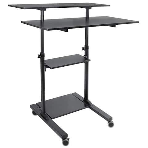 "Mount-It! Mobile Standing Desk Height Adjustable Rolling Desk with 40"" Wide Table Tops Black"