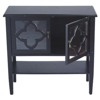 Frasera 2-Door Console Cabinet with Quatrefoil Glass Inserts &