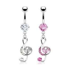 """Surgical Steel Multi CZ G-Clef Music Note with Star Navel Belly Button Ring-14GA 3/8"""" Long (Sold Ind.)"""