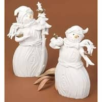 Winter's Beauty White Snowman with Glass Bird Accents Christmas Figure 8""