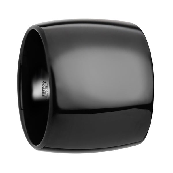 THORSTEN - FENRIR Domed Black Tungsten Carbide Ring with Polished Finish - 20 mm