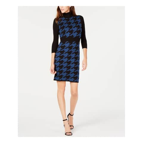 ANNE KLEIN Womens Blue Sweater Houndstooth 3/4 Sleeve Turtle Neck Above The Knee Wear To Work Dress Size: M