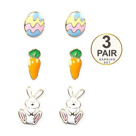 Easter Bunny Inspired Set of Three Earring Set
