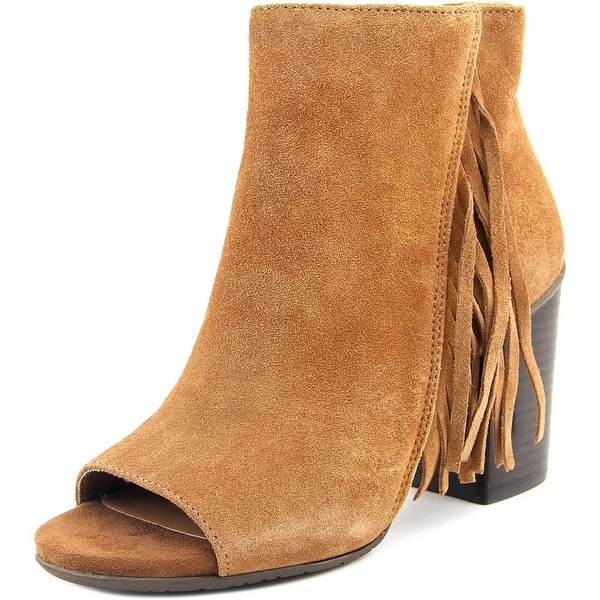 Kenneth Cole Reaction Frida World Women Peep-Toe Suede Brown Ankle Boot