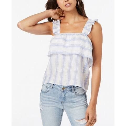 Almost Famous Blue Size XL Junior Striped Popover Tank Cami Top