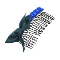 Unique Bargains Unique Bargains Turquoise Green Bowtie Design Black Metal Toothed Hair Comb Clip