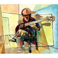 ''Little Musician'' by Nathaniel Barnes African American Art Print (14 x 16.5 in.)