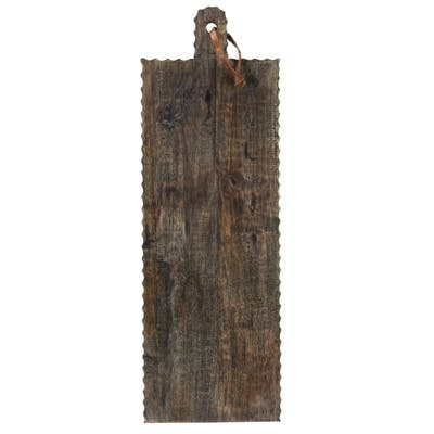 Foreside Home & Garden Oversized Rectangle Hand Carved Black Wood Kitchen Serving Cutting Board - 24 x 8 x 0.75