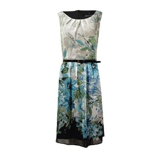 Connected Women's Floral Mesh Belted Dress