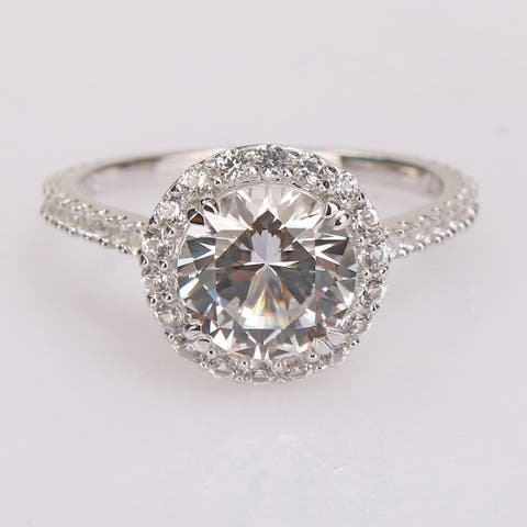 Miadora Sterling Silver 3ct TGW Created White Sapphire Halo Engagement ring