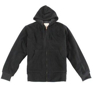 Weatherproof Black Mens Large L Full Zip Faux Sherpa Fleece Jacket