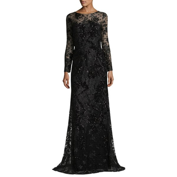 Shop David Meister Embroidered Floral Tulle Long Sleeve ...